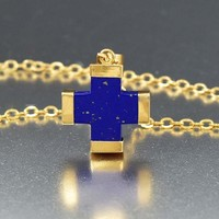 Lapis Lazuli 14K Gold Cross Pendant Necklace