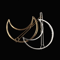 1 pair Women Lady Girl Punk Hollow Out Moon Triangle Barrettes Hair Clip Hairpin Clamps Gold Tone Fashion Hair Accessories