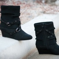 ANNA Black Buckled Slouchy Sweater Knit Ankle Boot - Shoes 4 U Las Vegas