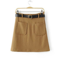High Waist A-Aline Skirt With Belt