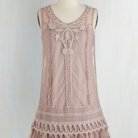 Vintage Inspired, 20s, Boho, Pastel, French Mid-length Sleeveless Tent Genuinely Genteel Dress by Ryu from ModCloth