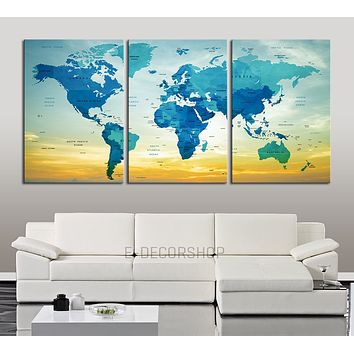 Push Pin Travel World Map Wall Art Print Blue World Map with Names of the Countries on Sky