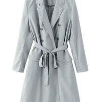 Grey Lapel Double Breasted Tie Waist Longline Trench Coat