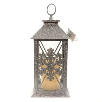 Christmas GLITTERED SILVER SNOWFLAKE LANTERN Metal Lighted Candle 6002887
