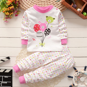 Mother & Kids 100% Cotton Children Clothing Sets Kids Winter Autumn Top+pants Toddler Suits Newborn Girls Boys Baby Clothes