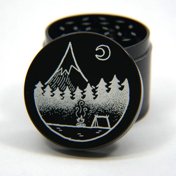Laser Engraved Herb Grinder - Mountian Camp Fire Artwork Design 4 Piece Grinder #159