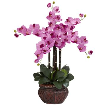 Artificial Flowers -Phalaenopsis With Decorative Vase Flower Arrangement No2