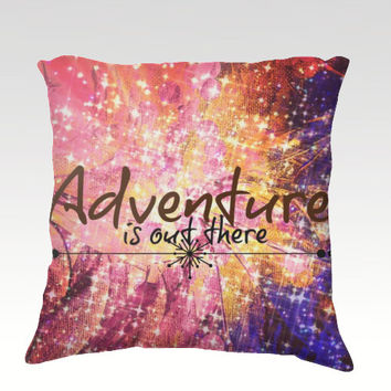 ADVENTURE is OUT THERE Fine Art Velveteen Throw Pillow Cover 18x18 Abstract Painting Hipster Wanderlust Typography Cosmic Space Modern Decor