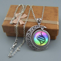 Free shipping,Mega Evolution necklace,Silver Mega Evolution Stone jewelry,Mega Evolution Moon charm,Mega Evolution pendant,Unique Friendship Jewelry,gift for best friend,Unisex necklace, Blessing gift,Wholesale or retail