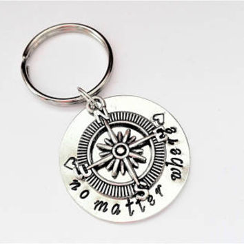 No matter where keychain, compass keychain, silver keychain, best friend gift for her, graduation gift for him, personalized keychain,