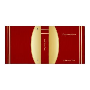 Bold Rich Red and Gold Company Design Vinyl Binder