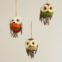 Natural Fiber Burlap Owl Ornaments, Set of 3 | World Market