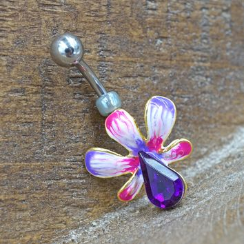 Pink and Purple Flower Gold Belly Button Ring