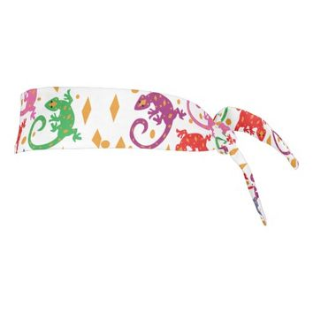 Colorful Lizards Tie Headband