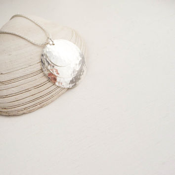 Silver Hammered Disc Circle Necklace - Handmade 3 circle pendant necklace in sterling silver