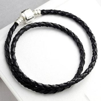 Double Circle 925 Sterling Silver Genuine leather Bracelet for Women Lobster Clasp fit Pandora Charm Beads Pendant Jewelry