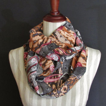 Silk Infinity Scarf |Womens Accessories |Fashion Scarves |Multi Colored Pattern Infinity Scarf |Silk Fashion Accessory | Brown Pink Beige