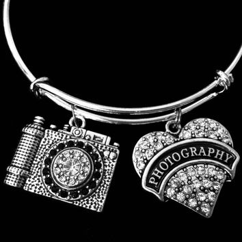 Photography Charm Bracelet Expandable Adjustable Silver Bangle Crystal Camera One Size Fits All Gift Photographer