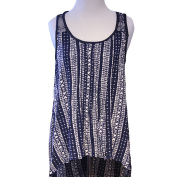 Lace Back High-Low Tribal Print Tank Top