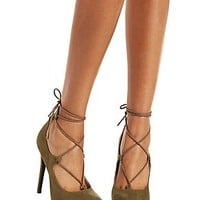 LACE-UP POINTED TOE HEELS