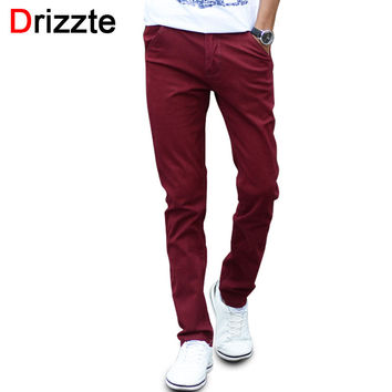 Men Fashion Stretch Slim Casual Dress Chino Pants Business Trousers Red Black Blue Khaki