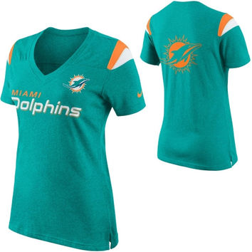 Women's Miami Dolphins Nike Aqua Team Stripe Tri-Blend V-Neck T-Shirt