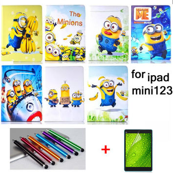HOT! High quality fashion Child case cover for ipad mini 1 mini 2 mini 3 Cartoon Series Despicable Me Minion Stand Leather Cover
