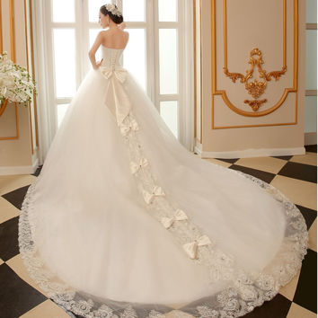 Ball Ggown Wedding Dress with Cathedral Train bling luxury long tail