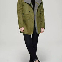 Double Breast Suede Coat with Oversized Lapel