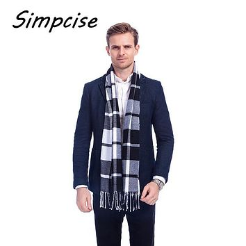 [Simpcise] Designer Unisex Polyester Fiber Wool Cashmere Blend Plaid Warm Scarf 2016 New Charming Man Scarves A3A17537