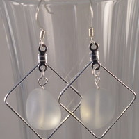 SEAE10 Earring made of Clear Sea Glass in a Silver Plated Frame