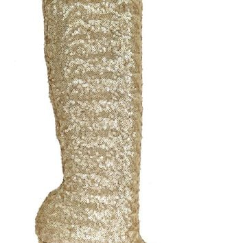 Gold Sequined Leather Stretch Boots