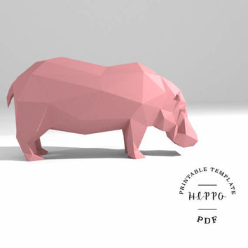 Printable DIY template (PDF).  Hippo low poly paper model. 3D paper trophy. Origami.