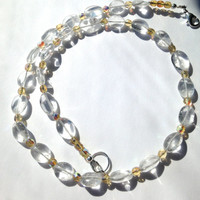 Quartz Crystal Beaded Necklace, with Citrine Colored Glass Faceted Beads