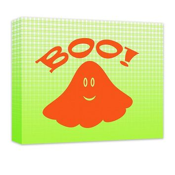 Boo! with Cute Ghost Canvas Wall Art