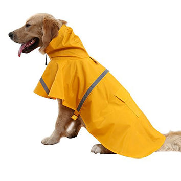 BINGPET BA1065 Adjustable Dog Raincoat Pet Puppy Lightweight Rain Jacket Poncho with Strip Reflective , Yellow S/M