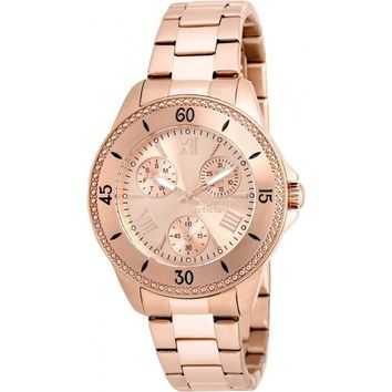 Invicta Women's 21684 Angel Quartz Chronograph Rose Gold Dial Watch