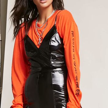 Faux Patent Leather Romper
