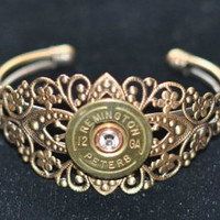 Vintage Rare  Remington  Peters 12 Gauge  Shotgun Shell Bullet Cuff Bracelet  Antique Bronze Brass Finish