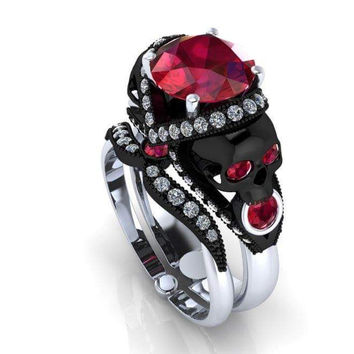 Skull Engagement Ring in  Genuine Garnet 14 k
