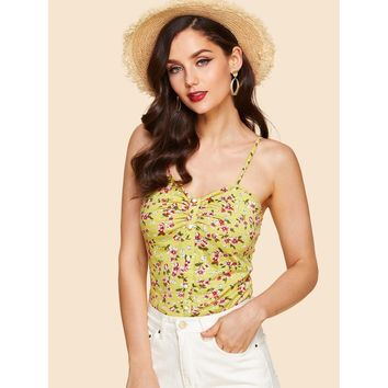 Yellow Ruched Detail Buttoned Calico Print Cami Top