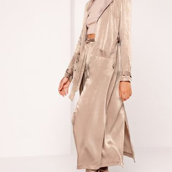 Missguided - Buckle Duster Coat Brown