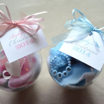 Baby's First Christmas Holiday glass ornaments Baby Girl Baby Boy first Christmas pink baby blue
