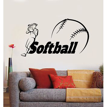 Vinyl Wall Decal Softball Girl  Athlete Player Game Ball Sport Stickers Mural (g431)