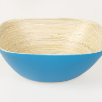 Square coiled bamboo snack bowls, blue
