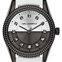 Women's KARL LAGERFELD 'Petite Stud' Crystal Index Leather Strap Watch, 34mm - White/ Silver