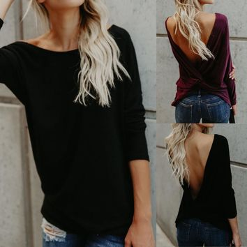 Ladies Backless Blouses Long Sleeve Tops