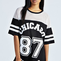 Sasha Chicago Wolves Oversized Baseball Tee
