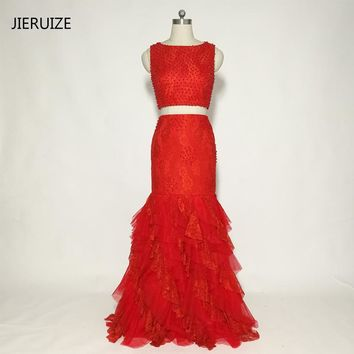 JIERUIZE Red Mermaid Prom Dresses Long 2018 Pearls Two Pieces Prom Dresses Elegant Long Party Dress robe de bal longue