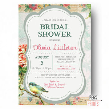 Shabby Chic Bridal Shower Invitation - PRINTABLE Bird Bridal Shower Invitation - Bridal Shower Invites - Floral Bridal Shower Invitation